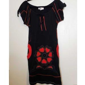 La Belle Helene Black and Red Poppy Dress- Large